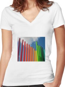 Colored Pencils Women's Fitted V-Neck T-Shirt