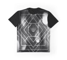 Geometric Abstract Grayscale Diamond Square Overlay Design Graphic T-Shirt