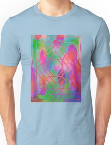 Trippy Blacklight Geometric Overlay Diamond Pattern Unisex T-Shirt