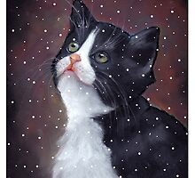 Kitten in Snow, Pastel Painting, Winter, Tuxedo Cat, Snowflakes by Joyce Geleynse