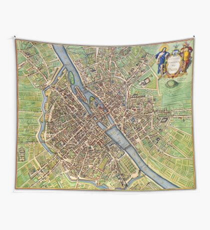 Vintage Historic Paris Map Wall Tapestry