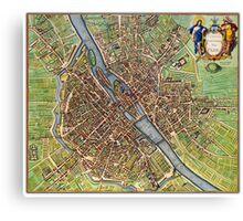 Vintage Historic Paris Map Canvas Print