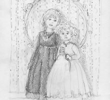 Portrait of two little girls - pencil sketch by Roberta Angiolani