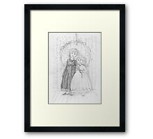 Portrait of two little girls - pencil sketch Framed Print