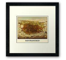 Vintage Historic San Francisco Map Framed Print