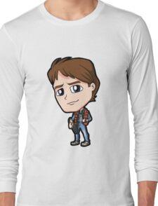 BTTF - Back to the Future Marty McFly 1985 Michael J Fox Chibi Long Sleeve T-Shirt