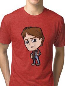 BTTF - Back to the Future Marty McFly 1985 Michael J Fox Chibi Tri-blend T-Shirt