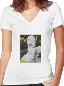 Garden Fairy Angel Women's Fitted V-Neck T-Shirt
