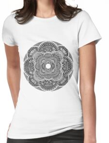 Black & White Mandala Womens Fitted T-Shirt