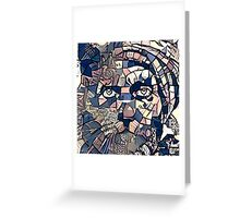 """Abstract Portrait """"Cat Man"""" Greeting Card"""