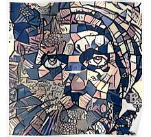 """Abstract Portrait """"Cat Man"""" Poster"""