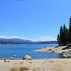 Landscape picture of lake, sand beach, blue sky, trees.  Southern California, USA. by naturematters