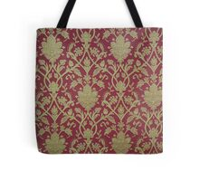 Rustic,vintage,damask,gold,deep red, shabby chic,elegant,modern,trendy,wall paper Tote Bag