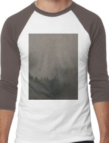Autumn Moods aged Misty Forest nature photo Men's Baseball ¾ T-Shirt