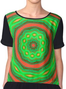 Green and orange abstract Chiffon Top