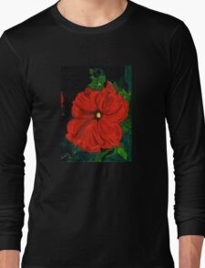 Hot Red Petunia Long Sleeve T-Shirt