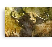 African Buffalo Watercolour Canvas Print