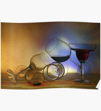 Still Life Five - Tumbling glasses Poster