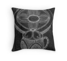 Tea Set for One (Old Sketch Invert) Throw Pillow