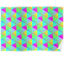 Geometric Popping Rainbow Block Cubes Optical Illusion Pattern Poster