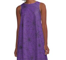 Spider web pattern - purple & black A-Line Dress