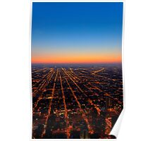 All Roads Lead... - Chicago From Above At Dusk Poster