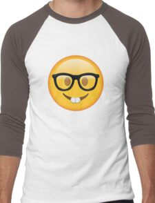 Nerd Glasses Buckteeth Emoji Design Men's Baseball ¾ T-Shirt