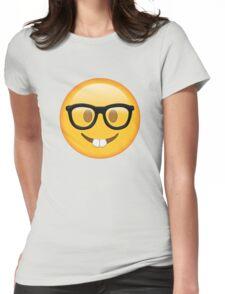 Nerd Glasses Buckteeth Emoji Design Womens Fitted T-Shirt