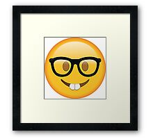 Nerd Glasses Buckteeth Emoji Design Framed Print