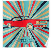 Red Retro Car Poster