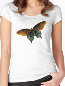 Butterfly Vintage Illustration Retro Cool Art Hippie Indie Design T-Shirts Women's Fitted Scoop T-Shirt
