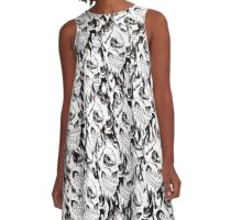 Halloween, Dantes Inferno, spooky pattern, skeleton, skulls A-Line Dress