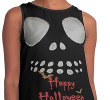 Happy Halloween, skeleton, skulls eyes, face, bats Contrast Tank