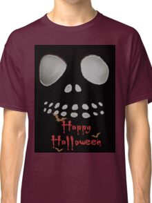 Happy Halloween, skeleton, skulls eyes, face, bats Classic T-Shirt