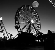 Ferris Wheel With Full Moon by Nathan Little