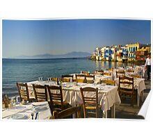 Preparing for Dinner, Mykonos Poster