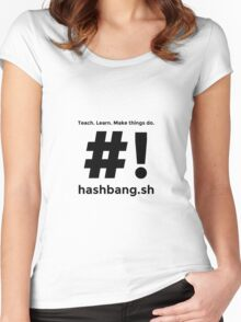 Hashbang.sh - Black Women's Fitted Scoop T-Shirt
