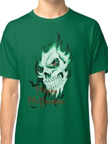 Happy Halloween, skeleton, skull, demonic eyes, face, bats Classic T-Shirt