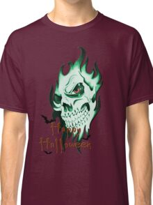 Happy Halloween, skeleton, skull, demonic eyes, face, bats Classic T-Shirt