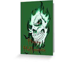 Happy Halloween, skeleton, skull, demonic eyes, face, bats Greeting Card