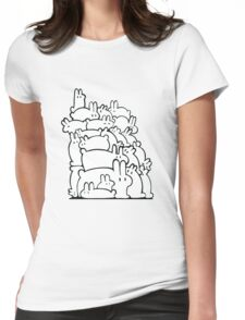Bun Pile - Black and White Womens Fitted T-Shirt