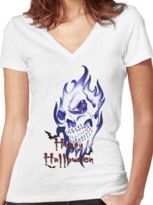 Happy Halloween, skeleton, skull, demonic eyes, face, bats 2 Women's Fitted V-Neck T-Shirt