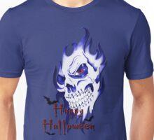Happy Halloween, skeleton, skull, demonic eyes, face, bats 2 Unisex T-Shirt