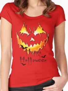 Happy Halloween, Jack O' Lantern face, spooky smile, bats Women's Fitted Scoop T-Shirt