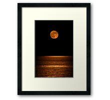 Harvest Moon Over Clear Lake Framed Print