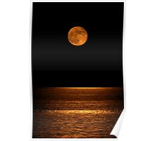 Harvest Moon Over Clear Lake Poster