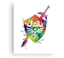Hylian shield and sword watercolor  Canvas Print