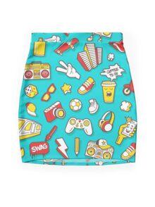 Teal Retro Street Urban Style Mini Skirt