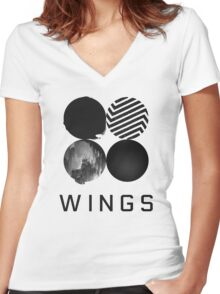 Bangtan Boys (BTS) 'WINGS' Women's Fitted V-Neck T-Shirt