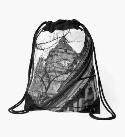 Town Hall Clock Tower Drawstring Bag
